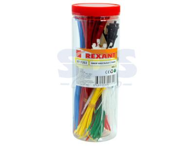 Набор стяжек нейлоновых 100, 200 мм, цветные, НХ-2 (тубус 300 шт) rexant