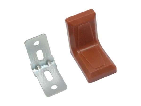 Уголок мебельный 26х26 мм цинк с декоративной накладкой коричневый starfix