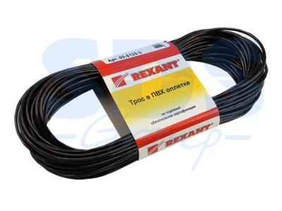 Трос стальной в ПВХ оплетке d=2,5 мм, черный ( моток 20 м)  rexant