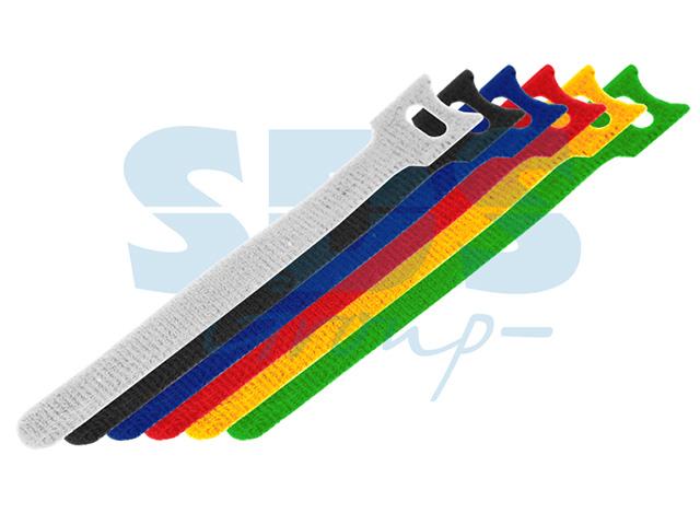 Набор хомутов многоразовых на липучке 310 x 16 мм, цветная (упак. 12 шт)  rexant