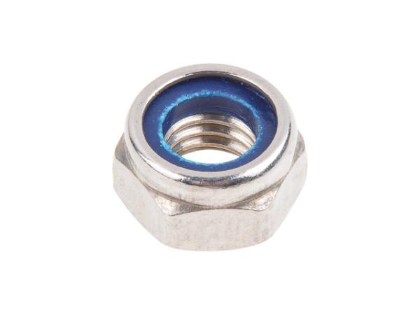 Гайка М10 со стопорным кольцом, нерж.сталь (А2), din 985 (200 шт в карт. уп.) (starfix)
