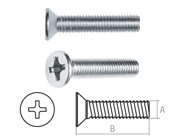 Винт М3х12 мм потай. головка, цинк, din 965 (1000 шт в карт. уп.) starfix