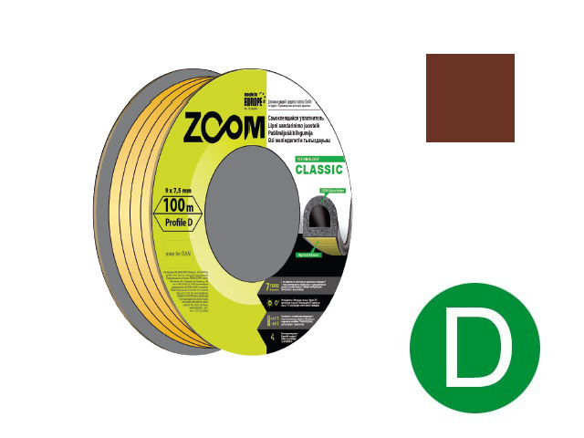 Уплотнитель «d» коричневый 100м  zoom classic