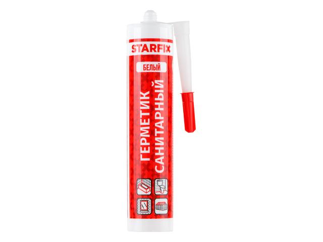 Герметик силиконовый санитарный starfix белый, 300 мл