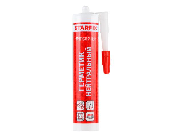 Герметик силиконовый нейтральный starfix прозрачный, 300мл