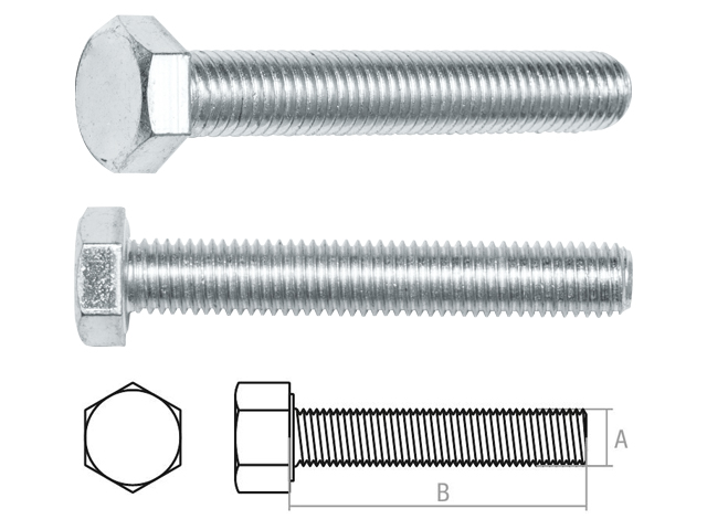 Болт М8х45 мм шестигр., цинк, кл.пр. 5.8, РМЗ (25 кг упак) (starfix)