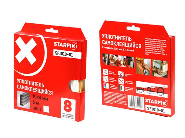 Уплотнитель «e» белый 10х4мм 6м starfix (sf1010-01)
