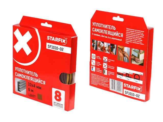 Уплотнитель «e» коричневый 10х4мм 6м starfix (sf1010-02)