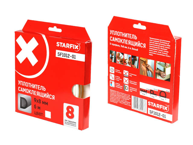 Уплотнитель «d» белый  9х8мм 6м starfix (sf1012-01)