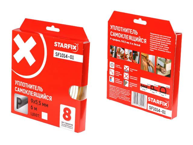 Уплотнитель «p» белый  9х5,5мм 6м starfix (sf1014-01)