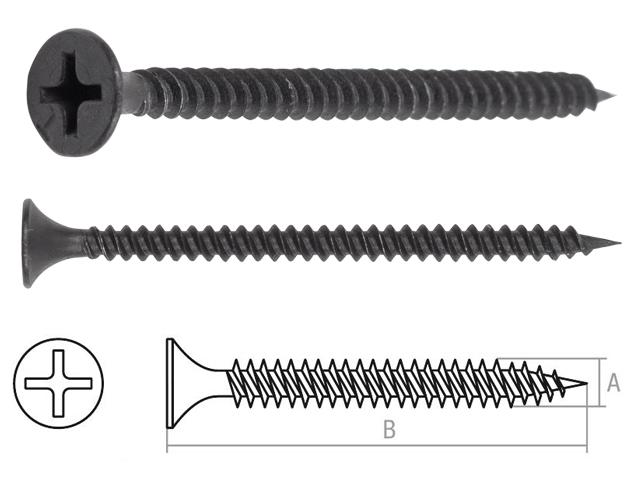 Саморез 3.5х45 мм для монтажа ГКЛ к металлу, фосфат (9000 шт в коробе) starfix