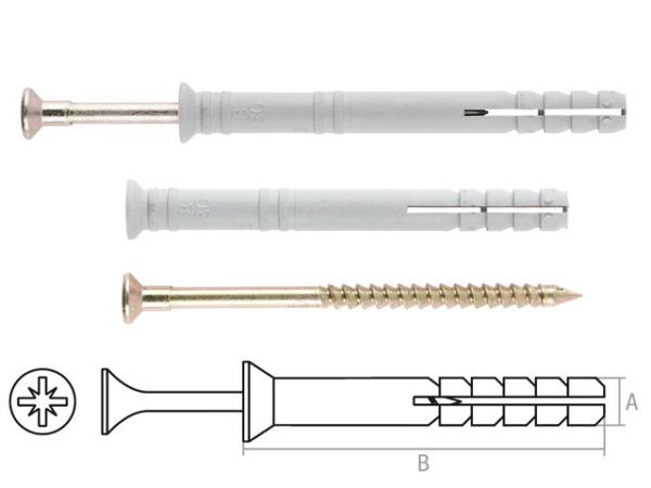 Дюбель-гвоздь 6х40 мм полипропилен потай (100 шт в пласт. конт.) starfix