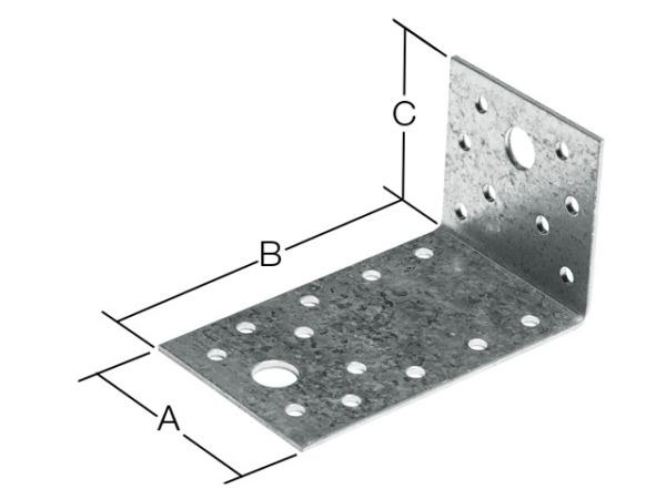 Уголок крепежный асимметричный 90х150х60 мм kuas белый цинк starfix