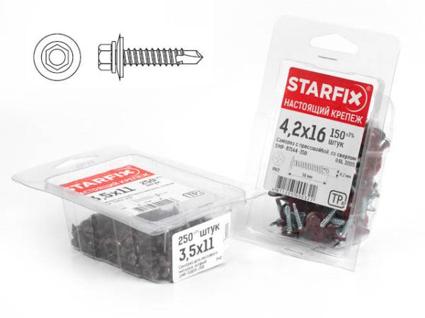 Саморез кровельный 4.8х50 мм цинк, шайба с прокл., pt1 (150 шт в карт. уп.) starfix (по дереву)