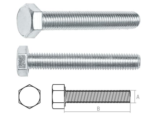 Болт М16х130 мм шестигр., цинк, кл.пр. 5.8, din 933 (10 шт в карт. уп.) starfix