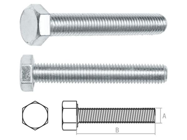Болт М20х90 мм шестигр., цинк, кл.пр. 5.8, din 933 starfix