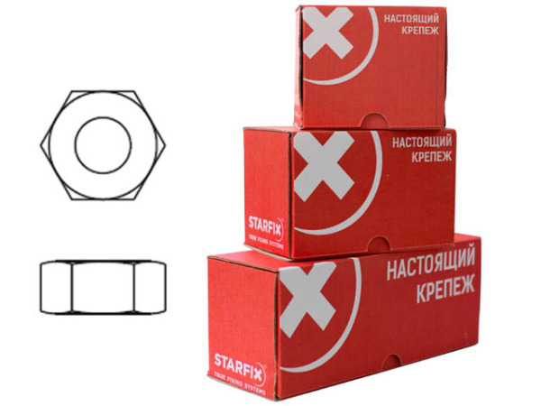 Гайка М18 шестигр., цинк, кл.пр. 6, din 934 (50 шт в карт. уп.) starfix