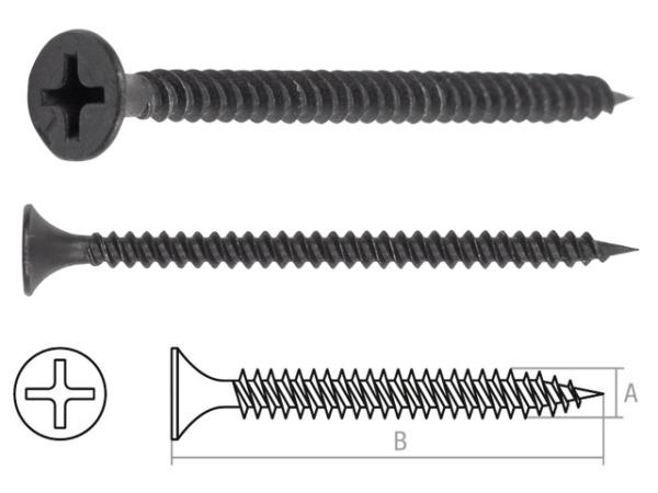 Саморез 3.5х55 мм для монтажа ГКЛ к металлу, фосфат (500 шт в карт. уп.) starfix