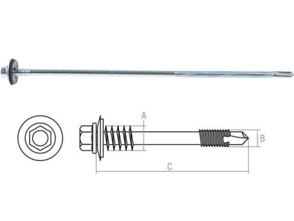 Саморез для сэндвич-панелей 6.3/5.5х205 мм цинк, шайба с прокл., (500 шт в коробе) starfix