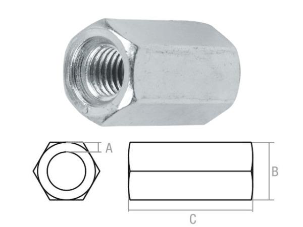 Гайка М10 удлиняющая, цинк, (600 шт в коробе) starfix