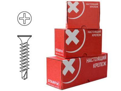 Саморез оконный 3.9х35 мм белый цинк, частая резьба, со сверлом (1000 шт в карт. уп.) starfix