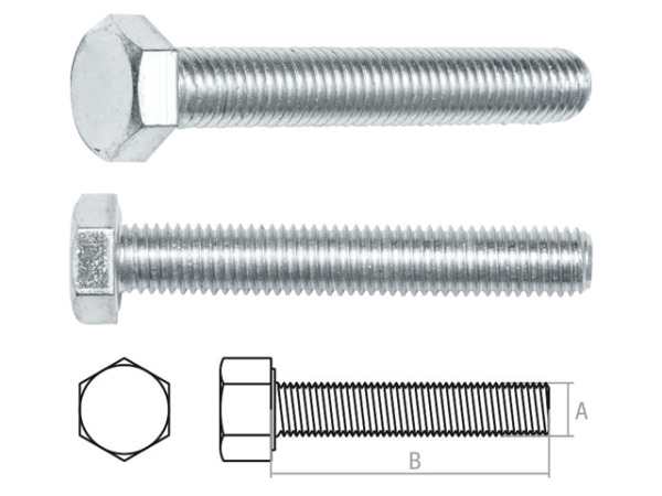 Болт М20х160 мм шестигр., цинк, кл.пр. 5.8, din 933 starfix