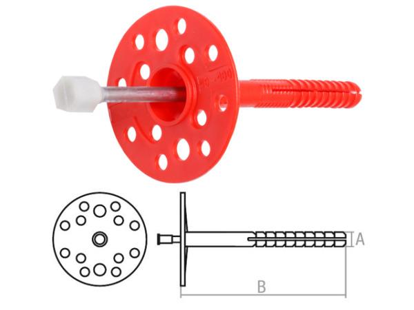 Дюбель для теплоизоляции 10х180 мм с металлич. гвоздем, термогол. (500 шт в коробе) starfix