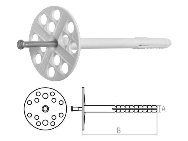 Дюбель для теплоизоляции 10х220 мм с металлич. гвоздем (400 шт в коробе) starfix