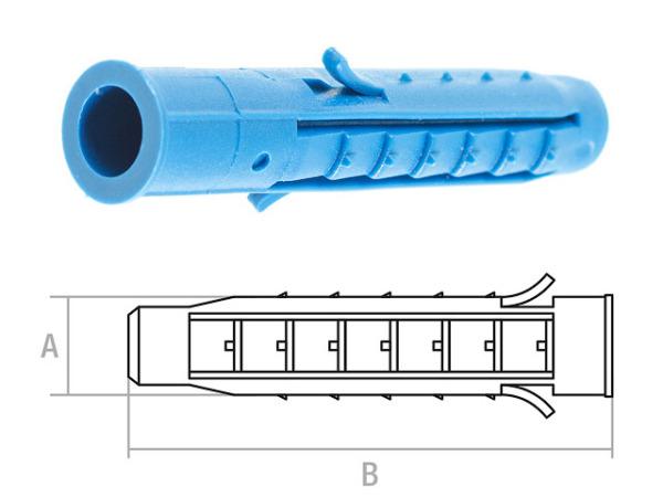 Дюбель распорный 6х40 мм четырехсегментный (1000 шт в пакете) starfix